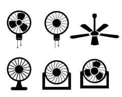 Set of fan icons in silhouette style, vector - stock illustration