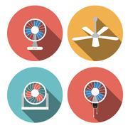 Set of fan icons in flat style, vector object - stock illustration
