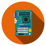 Motherboard and mainboard icon in flat style - stock illustration