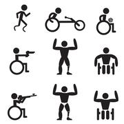 Disable Handicap Sport icons, runner, bodybuilding, shooting, rugby and racin - stock illustration