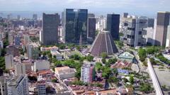 Aerial downtown buildings cathedral santa teresa neighbourhood Rio de Janeiro Stock Footage