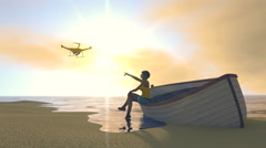 Female figure on a beach pointing to a UAV drone, 3D render Stock Footage