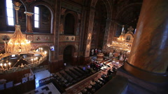 Interior architecture of an orthodox cathedral Stock Footage