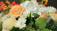 Wedding table decorated with flowers - stock footage