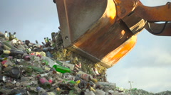 Unloading of broken glass in the enterprise.  Glass recycling. Slow motion Stock Footage
