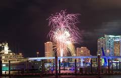 Fireworks over the skyline from Miami as seen from Watson Island Stock Photos