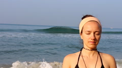Meditation beach at yoga home Stock Footage