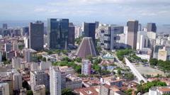 Aerial downtown buildings Rio de Janeiro Stock Footage