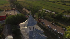 Aerial view of a countryside church Stock Footage