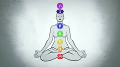 Seven Chakras In Yoga Body Stock Footage