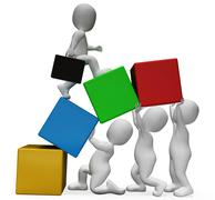 Teamwork Characters Represents Business Person And Advance 3d Rendering Stock Illustration