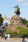 Monument of Bohdan Khmelnytsky on Sofia square in Kyiv, Ukraine - stock photo