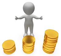 Money Coins Represents Investment Wealthy And Savings 3d Rendering - stock illustration