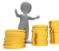 Savings Character Shows Man Finances And Cash 3d Rendering - stock illustration