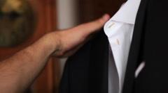 Beautiful stylish wedding groom costume Stock Footage