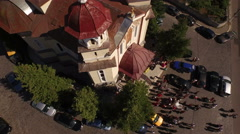 Aerial view of a city church Stock Footage