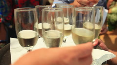 People taking champagne glasses at wedding reception - stock footage