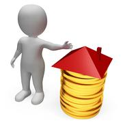 Money Mortgage Means Home Finances And Accounting 3d Rendering - stock illustration