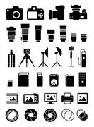 Camera Accessories Icons Stock Illustration