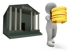 Coins Bank Represents Saved Render And Prosperity 3d Rendering Stock Illustration