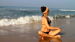 meditation beach at yoga home - stock footage
