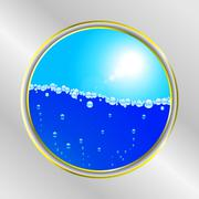 Water bubble and sunny sky border - stock illustration