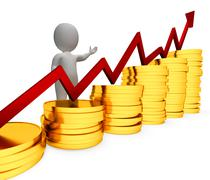 Coins Increase Represents Business Person And Advance 3d Rendering - stock illustration