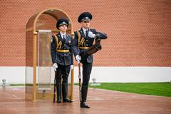 Post honor guard at the Eternal Flame in Moscow, Russia - stock photo