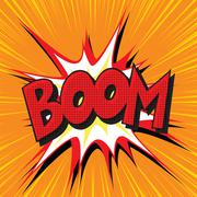 Boom explosion comic book text pop art - stock illustration