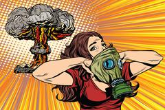Nuclear explosion radiation hazard gas mask girl - stock illustration