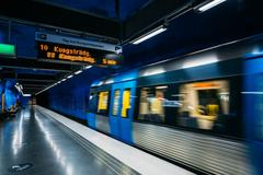 Modern Stockholm Metro Train Station, Sweden. Underground Stock Photos