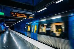 Modern Stockholm Metro Train Station, Sweden. Underground Kuvituskuvat