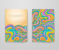 Business card with vivid lines pattern. - stock illustration