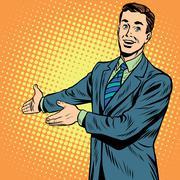 Businessman promo poster pop art retro Stock Illustration