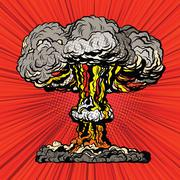 Nuclear explosion radioactive mushroom pop art - stock illustration