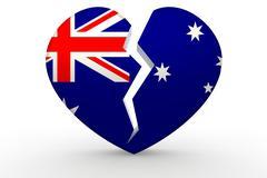 Broken white heart shape with Australia flag - stock illustration