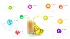 Vitamins fly out of the glass of banana smoothie and a bunch of bananas Stock Footage