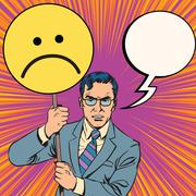 Policy protester poster sad emoticon - stock illustration