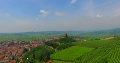 View of Soave (Italy) and its famous medieval castle. Stock Footage