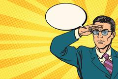 Businessman lookout concept business pop art retro Stock Illustration