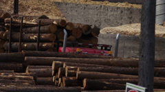 Logging Industry - Truck hauling wood to saw mill Stock Footage