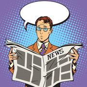 newspaper news surprise reader - stock illustration