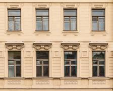 Windows in a row on facade of the Saint-Petersburg University of Economics - stock photo