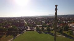 Aerial UNESCO heritage of Constantin Brancusi, The Infinity Column. Stock Footage
