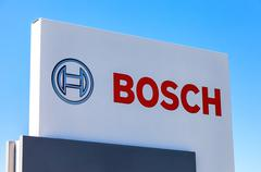 Emblem Bosch against the blue sky - stock photo