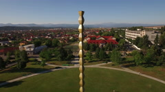Aerial UNESCO heritage of Constantin Brancusi, The Infinity Column. Stock Footage