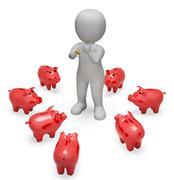 Piggybank Savings Represents Finances Wealth And Money 3d Rendering - stock illustration