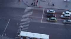 Busy crosswalk in the evening. 4K Timelapse - stock footage