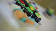 Decorative cakes for party venue.Steady Footage shot with dolly. Stock Footage