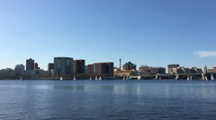 4K UltraHD View of Boston with boats in foreground Stock Footage